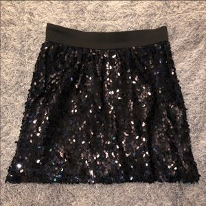 Black Sequined Skirt with Elastic Waistband